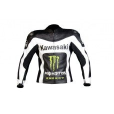 Men's Kawasaki black white Racing Leather jacket