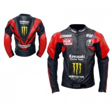 Men's Red Black Kawasaki Racing Team Motorcycle Biker Leather Jacket