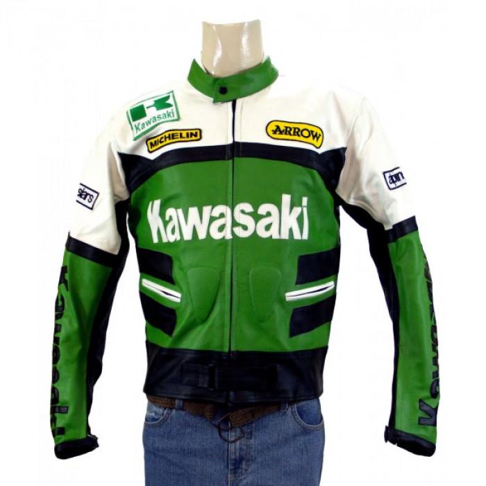 New Kawasaki Ninja Green Motorcycle Leather Jacket Padded S TO 6XL 2014 manufacturer