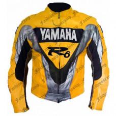 Yamaha R6 Yellow Black Motorbike Leather jacket Biker Jacket