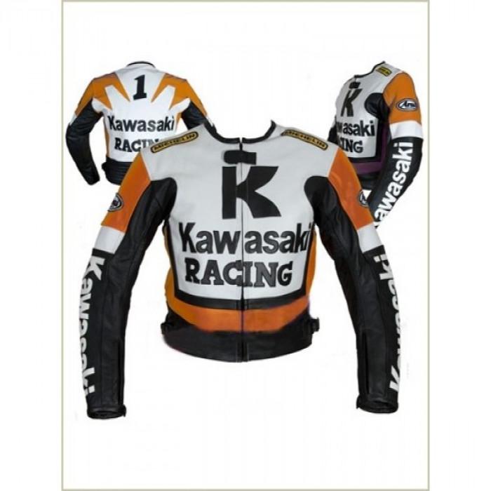 KAWASAKI RACING MOTORCYCLE LEATHER BIKER JACKET ORANGE & WHITE