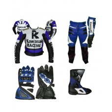 KAWASAKI MOTORCYCLE BlUE BLACK BIKER LEATHER RACING SUIT S TO 4XL