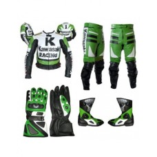 KAWASAKI MOTORCYCLE GREEN BLACK BIKER LEATHER RACING SUIT S TO 4XL