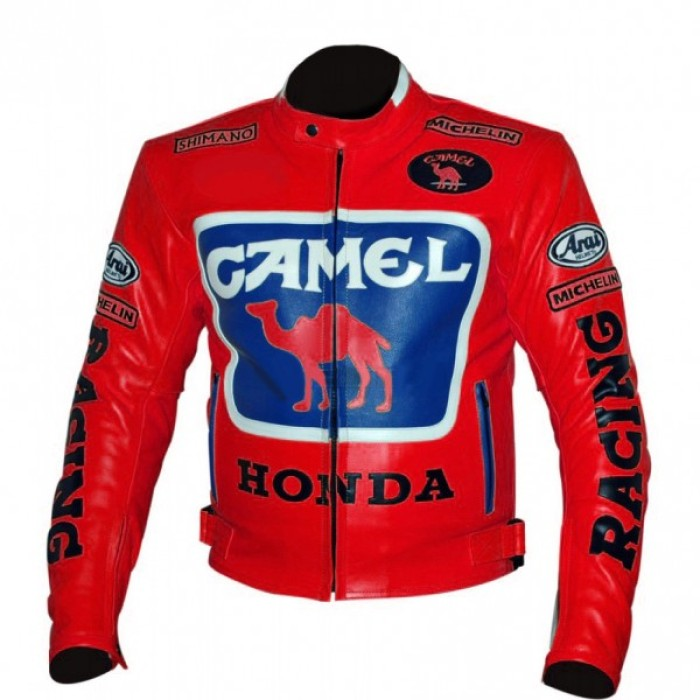 Camel Red Honda Racing Leather Jacket