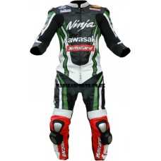 Kawasaki Ninja Motorbike Racing Leather OnePiece Suit For Men's