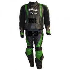 KAWASAKI NINJA MOTORCYCLE GREEN BLACK BIKER LEATHER RACING SUIT