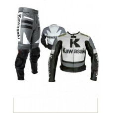 Kawasaki White & Gray Motorcycle Leather Biker Racing Suit