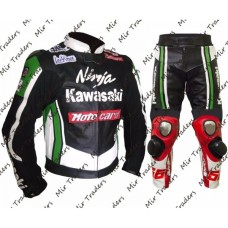 Men Kawasaki Ninja Tom Sykes Motorbike Leather Suit