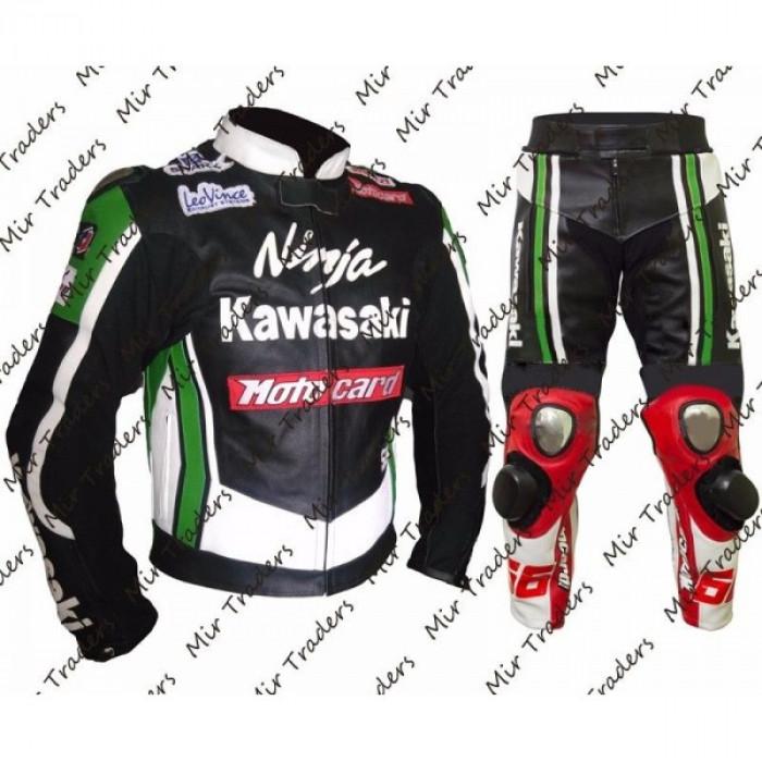 Men Kawasaki Ninja Tom Sykes Motorbike Leather Suit