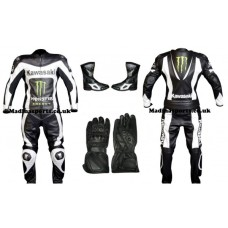 Men's Kawasaki black & white Racing Leather Suit Monster