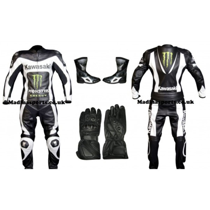 Men's Kawasaki black & white Racing Leather Suit Monster