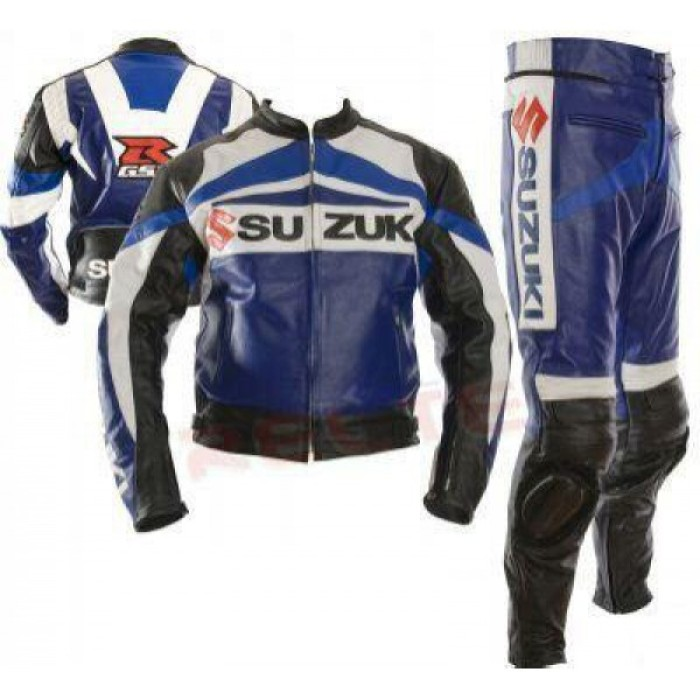 Suzuki Blue Biker Two Peace Leather Suit S To 6XL
