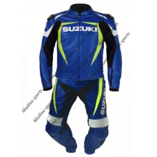 SUZUKI BLUE GSX-R PERFORATED LEATHER SUIT MEN