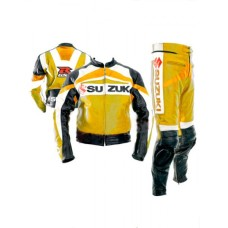 Suzuki Yellow Biker Two Peace Leather Suit S To 6XL