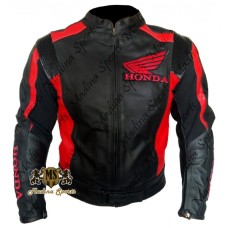 Honda Wings Black Scooter Biker Leather jacket
