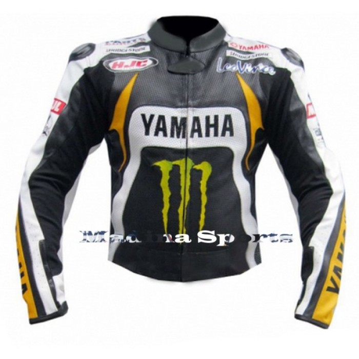 Men's Motorbike Motorcycle Yamaha Monster MotoGP Ben Spies Leather Jacket