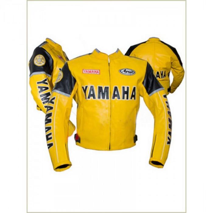 Yamaha 3 Yellow Biker motorbike Leather Jacket