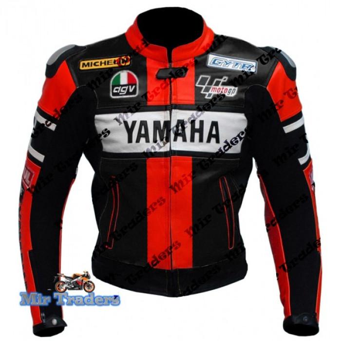 Yamaha 46 Rossi Red Biker Leather Jacket Men