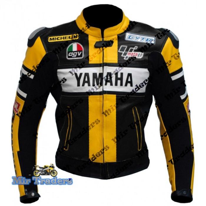 Yamaha 46 Rossi Yellow Biker Leather Jacket Men