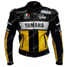 Yamaha 46 Yellow Black Biker Leather Jacket Men's