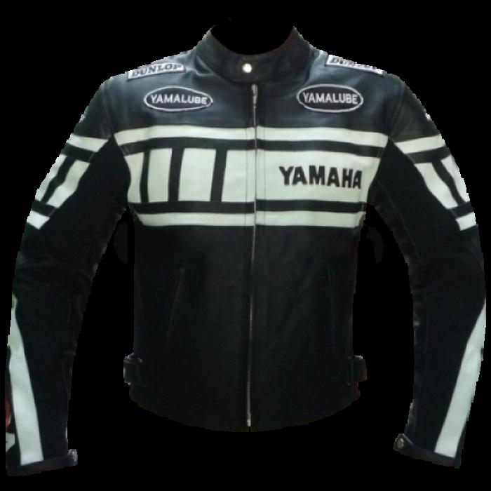 YAMAHA BLACK AND WHITE MOTORCYCLE BIKER LEATHER JACKET