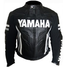 Yamaha Black Motorbiker Leather Jacket Men