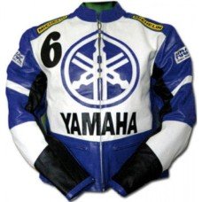 Yamaha Blue Biker Protected Leather Jacket