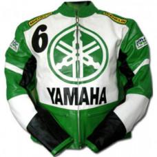 Yamaha Green Biker Protected Leather Jacket
