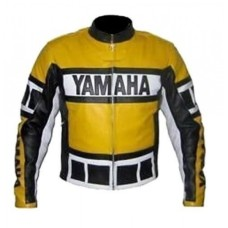 YAMAHA MOTOKIT MEN'S MOTORCYCLE YELLOW BIKER LEATHER JACKET
