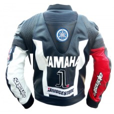YAMAHA MOVISTAR RED MOTORBIKE MOTORCYCLE MOTO GP LEATHER JACKET