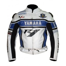 Yamaha R1 Blue Motorbike Motorcycle Biker LEATHER Jacket