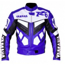Yamaha R6 Biker Leather Blue Jacket Original Leather