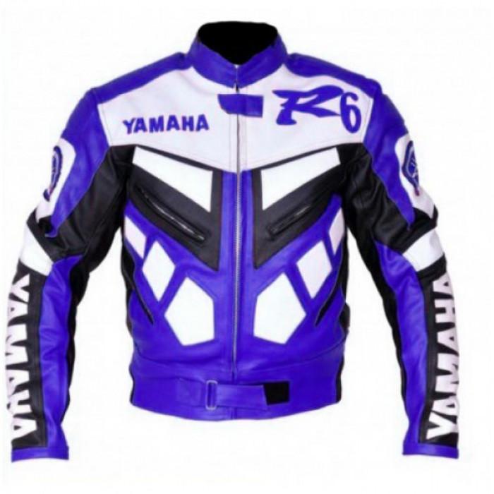 Yamaha R6 Biker Leather Blue Jacket Original Leather