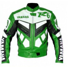 Yamaha R6 Biker Leather Green Jacket Original Leather
