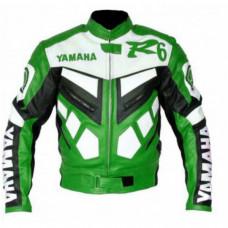 Yamaha R6 Biker Leather Green Jacket Original Leather