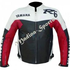 Yamaha R6 Red Motorbike Leather Jacket Men's