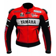 Yamaha Red Biker Leather Jacket for Men's