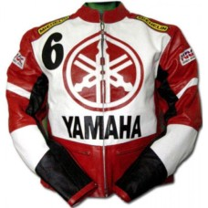 Yamaha Red Biker Protected Leather Jacket