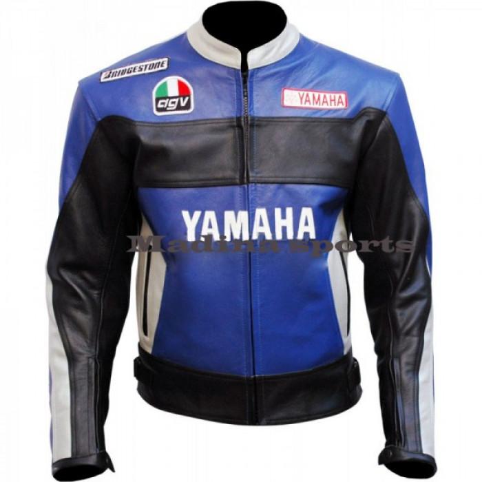 Yamaha Rossi 46 Blue Biker Leather Jacket