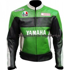 Yamaha Rossi 46 Green Biker Leather Jacket