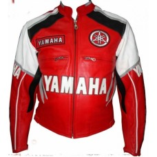 Yamaha New Red & white Motorcycle Leather Jacket for Street biker Motogp