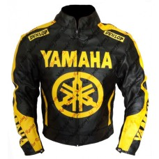 Yamaha Wheel Men's BLack Yellow Leather Jacket