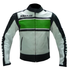 YAMAHA WHITE AND GREEN BIKER LEATHER JACKET