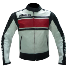 YAMAHA WHITE AND RED BIKER LEATHER JACKET