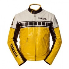 YAMAHA YELLOW AND BLACK MOTORCYCLE BIKER LEATHER JACKET