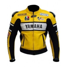 Yamaha Yellow Biker Leather Jacket for Men's
