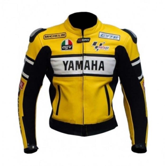 Yamaha Yellow Biker Leather Jacket for Men's
