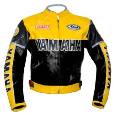 Yamaha Yellow Black Biker Leather Jacket Men's