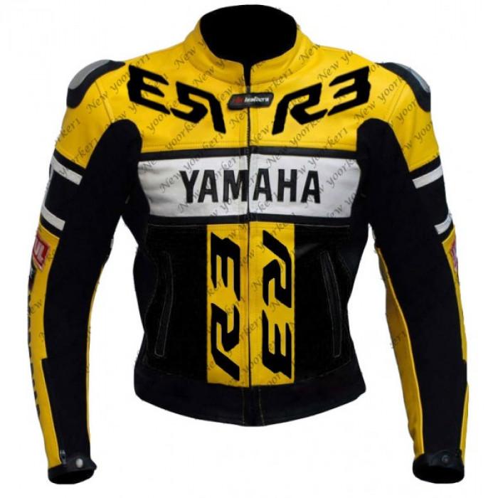 Yamaha Yzf motorbike R3 Biker Leather Jacket Men's