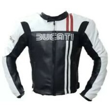 Ducati Black And White Custom Made Best Quality Racing Leather Jacket For Mens